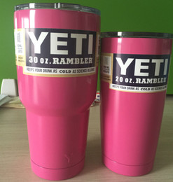 Wholesale NEW Pink Yeti Coolers Cup oz oz with Blue tint Lid Travel Beer Mugs Stainless Steel Double Wall Vacuum Cups Best Quality