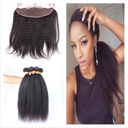 9A Virgin Brazilian Kinky Straight 13x4 Lace Frontal Closure With 3Bundles 4Pcs Lot Italian Coarse Yaki Human Hair Weaves With Frontals