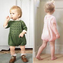 Wholesale 2016 Ins El mono verde rosado dulce lindo del vestido del mameluco del algodón hizo punto el suéter para la ropa de los niños de las muchachas de los bebés Y