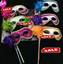 Venice masquerade feather flower women mask on stick Mardi Gras Costume Halloween Carnival Handle Stick party masks festive holiday supplies