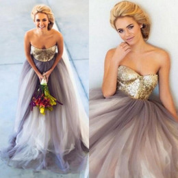 Sexy Gold Sequined Bodice Prom Dresses 2017 Sweetheart Tulle A Line Evening Gowns Backless Sweep Train Formal Party Dresses