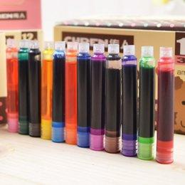 Cartuchos de tinta de la fuente al por mayor en venta-Al por mayor-8 / 12pcs del color azul cartuchos de tinta universal de la pluma de la pluma de recarga