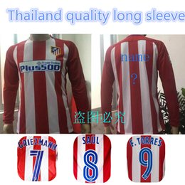 Wholesale 2016 Top thai quality Long sleeve Atletico Madrid jerseys GRIEZMANN F TORRES GODIN KOKE GABI home and away Football jerseys