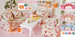 Wholesale G05 X439 children baby gift Toy Dollhouse mini Furniture Miniature rement sofa tea table set pccs set