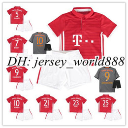 Wholesale 16 kids Bayern Munich Home RD soccer Jersey Kits VIDAL COATA LEWANDOWSKI MULLER ROBBEN BOATENG ALABA Away child Football Shir