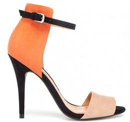 2018 new fashion shoes women sandals peep toes buckle multi color stiletto high heels sandals Micro Suede ankle feminino melissa sandalia