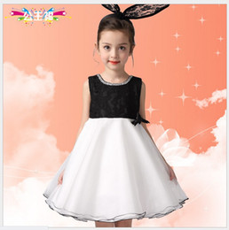 2016 Cute Girls Summer Princess Dress Children Fashion Noble Sleeveless Vest Evening Dresses Kids Lace Net Yarn Party Dress With Big Bowknot