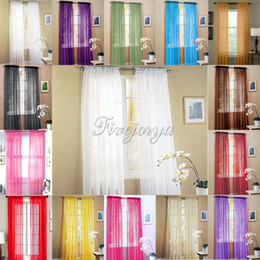 Wholesale 2pcs Set x84 quot Solf Orangza Window Curtains Panels Blackout Rod Pocket Curtains for Bedroom Living Room Curtains Veils Decorations