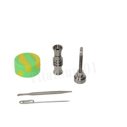 Titanium nail 10mm with Titanium carb cap with 1 random Silicone Jar Container with 2 Real Ti dabbers Fit 22mm bowl