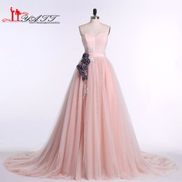 2016 Blush Pink Long Prom Dresses Charming Sweetheart Flowers Sash Pleats Tulle Formal Evening Dresses Real Pictures Long Party Gowns