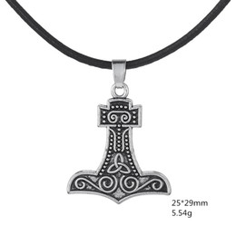 Wholesale My Shape Fashion Pendant Jewelry Series Antique Silver Plated Talisman Thor Hammer Pendant Black Genuine Leather Necklace