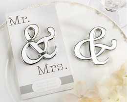 20pcs lot Unique Design Mr. & Mrs. Silver-Finished ampersand wine bottle opener Wedding party souvenir Gift for guests