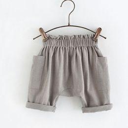 Wholesale Retail New summer baby boys girls cotton gray ruffler waist shorts