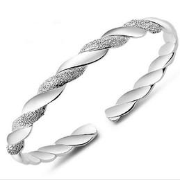 Top Grade Silver Bangle Bracelet Hot Sale Fashion Cuff Bracelets Bangles for Women Girl Wedding Party Wholesale Free ship 0065WH