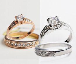 4pcs fashion Wedding Ring for Ladies women 18K gold-plated CZ diamond Rhinestone ring Simulated Diamond Rings and crystal
