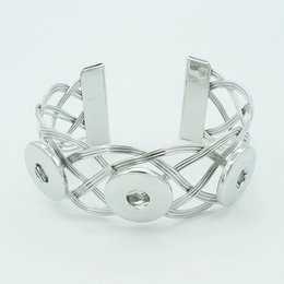 Wholesale Hot sale SG0028 Beauty Silver golden buttons Netted ginger snap bracelet bangle fit MM ginger snap buttons