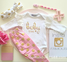 Wholesale INS baby girl Summer piece set outfits Lace romper onesies playsuits Gold Golden dots bronzing pants legging bunny ears tassel headband