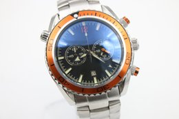 fahion brand watch men quartz stopwatch Co-Axial planet ocean chronograph function watch orange bezel watches men dress wristwatches
