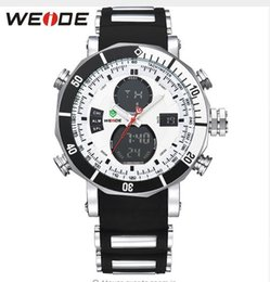 Wholesale 2016 NEW WEIDE Men Sports Watches Waterproof Military Quartz Digital Watch Alarm Stopwatch Dual Time Zones Brand New relogios masculinos