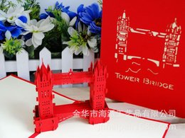 Wholesale Gules London Bridge Three dimensional Originality Architecture Paper Engraving Air Greeting Card Can Come Picture Come Sample Customized