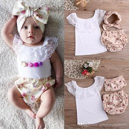 Wholesale Summer Baby Girl Lace Cotton T shirt Tops Floral Short Pants Outfits Set Y UK