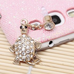 Wholesale-Wholesale Blingbling Rhinestone Gold Tortoise Design Mobile Phone Dust Plug Earphone Jack for iPhone iPad Samsung