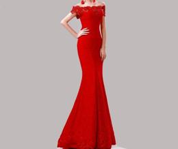 Wholesale Cheongsam Vestido - Vestido De Festa 2016 Cheap Elegant Mermaid Long Lace Evening Gowns Off the Shoulder Appliques Formal Prom Dresses Cheongsam