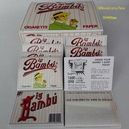 Wholesale 95x66mm Big Bambu Cigarette Rolling Papers best Quality Natural Unrefine Big Bambu Smoking Rolling Papers Cigarette Paper booklets