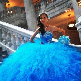 Wholesale Hot Princess Ball Gown Quninceanera Dresses Beautiful Puffy Organza Ruffles Quinceanera Gowns New Beads Sweetheart Party Dress