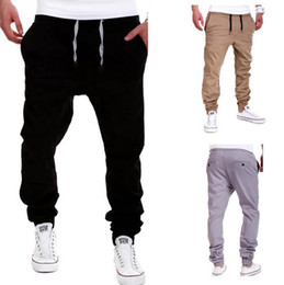 M-XXL Men's Black Casual Drawstring Sports Harem Cross Pants For Men Fashion Loose Active Long Collapse pants Gray khaki Trousers
