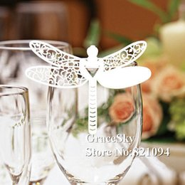 60pcs lot Free Shipping Laser Cutting Dragonfly Paper Wine Glasses Place Seat Name Card Butterfly Shaped for Paper Wedding Party Decorations