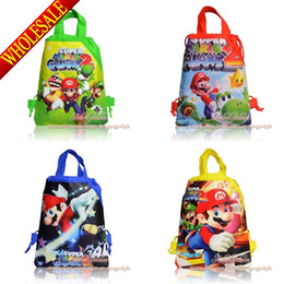 Wholesale Top Selling Super Mario Bros Children Drawstring Backpacks Kids School Bags cm Party Gift Shopping Travelling Bags