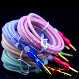 Wholesale online cheap M mm Jack Male To Male Stereo Fabric Braided Aux Audio Cable For iPhone for samsung All Mobile Phone
