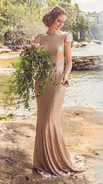 Vintage Country Formal Bridesmaids Dresses Short Sleeves Backless Long Mermaid Rose Gold Sequins Long Bridesmaid Guest Party Gowns 2016