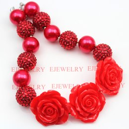 fashion jewelry 3 red flower pendanr big pearl&rhinestone beads chunky bubblegumkids Necklace