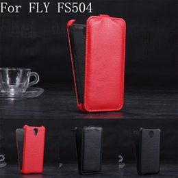 Wholesale-Luxury Lichee Pattern flip Leather Case for Fly Cirrus 2 FS504 leather cover color black,red