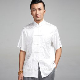 Wholesale High quality Chinese style kung fu shirt satin Short Sleeve Casual shirts wing chun Blouse apparel summer clothing for men male