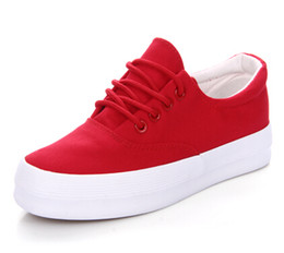 Female thick black and white canvas shoes muffin red shoes women's summer 2017 Korean students autumn tide