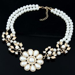 Fashion Simulated Pearl Jewelry Necklace Women Flower Necklaces & Pendants Gold Plated Collares Maxi Statement Necklace