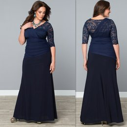 Wholesale Chiffon Gowns For Ladies - Evening Gowns For Fat Women 2016 Lace V Neck Half Sleeves Sheath Long Dark Navy Plus Size Special Occasions Dress For Ladies