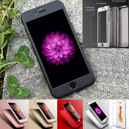 Wholesale Full Covered with Tempered Glass Film Case for Apple iPhone S Armor Ultra Thin Plain Hard All Protective Mobile Cases Fingerprint Free