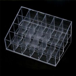 Wholesale 24 Stand Trapezoid Clear Lipstick Lotion Makeup Cosmetic Holder Storage Display Stand Jewelry Jars