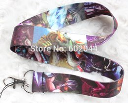 Wholesale-New arrive - 10pcs LOL League of Legends neck Lanyard  MP3 4 cell phone  key chains  Neck Strap Lanyard Free shipping