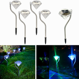 Wholesale Solar outdoor RGB Diamond lights for garden lawn lights stainless steel waterproof LED solar christmas lights for yard decoration