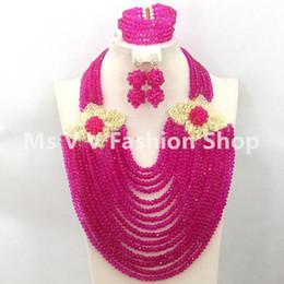 2018 New luxury 18k Gold plated flowers African Beads Jewelry Set fushia Crystal jewelry set Nigerian Wedding Jewelry Set Free Shipping