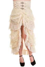 Wholesale regular plus sizes Fashion Design Popular Long Gothic Steampunk Skirt Ivory VTG Victorian Lace Bustle Corset
