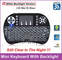 Wholesale Best Rii I8 Smart Air Mouse Brighter White Backlight GHz Wireless Keyboard Remote Control Touchpad For S905X S912 TV Box