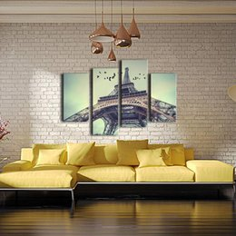 Скидка фотографии панели нет фото Ощущения не подставил Огромный 4-Panel Современная Франция Париж Эйфелева башня Жикле на холсте Пейзаж Картина стены искусства живописи на холсте