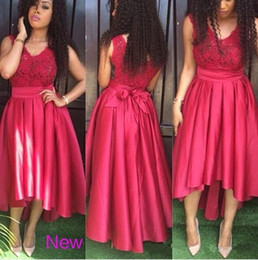 2019 Latest African Fashion High Low Prom Dresses Lace V neck Party Evening Dress Custom Made Formal Bridesmaid Gowns New Arrival