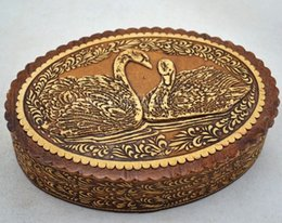 Wholesale Jewelry box handmade lovers swan sculpture birch bark exquisite gift